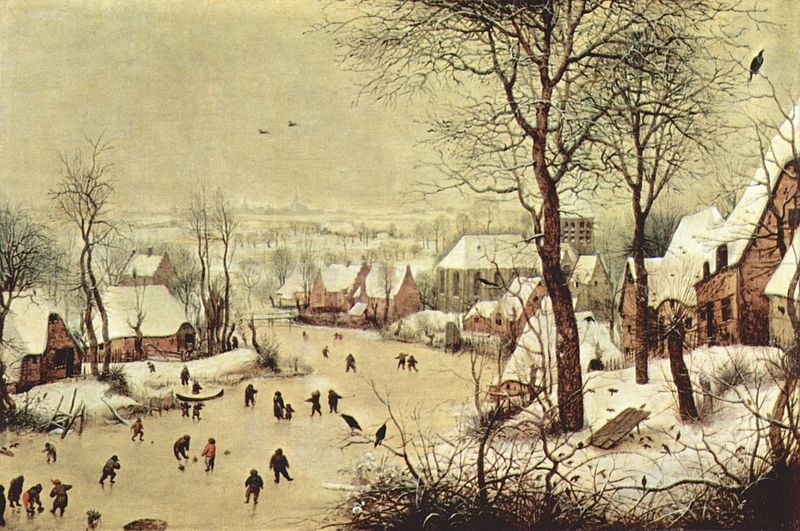 """Pierre Breughel l'Ancien. Paysage d'hiver avec patineurs et trappe à oiseaux ou «trébuchet"""" (1565)"""