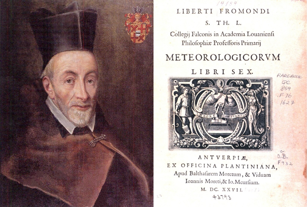 """Libert Froidmont (1587-1653) et la page titre de son œuvre """"Meteorologicorum Libri Sex"""" , édition publiée chez Plantin-Moretus à Anvers en 1646."""