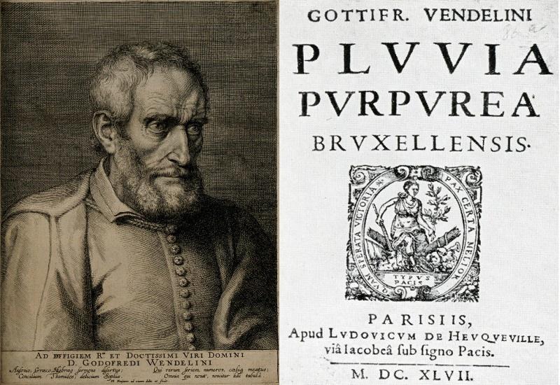 """Godefroid Wendelin (1580-1667) (à gauche) et la page titre de sa publication """"Pluvia purpurea Bruxellensis"""" imprimée à Paris en 1647 (à droite)."""
