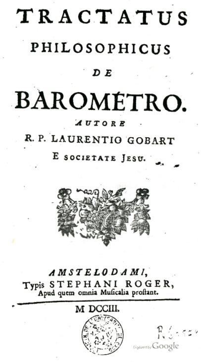 """Het titelblad van de """"Tractatus philosophicus de barométro"""" de Laurent Gobart (1658-1750)"""