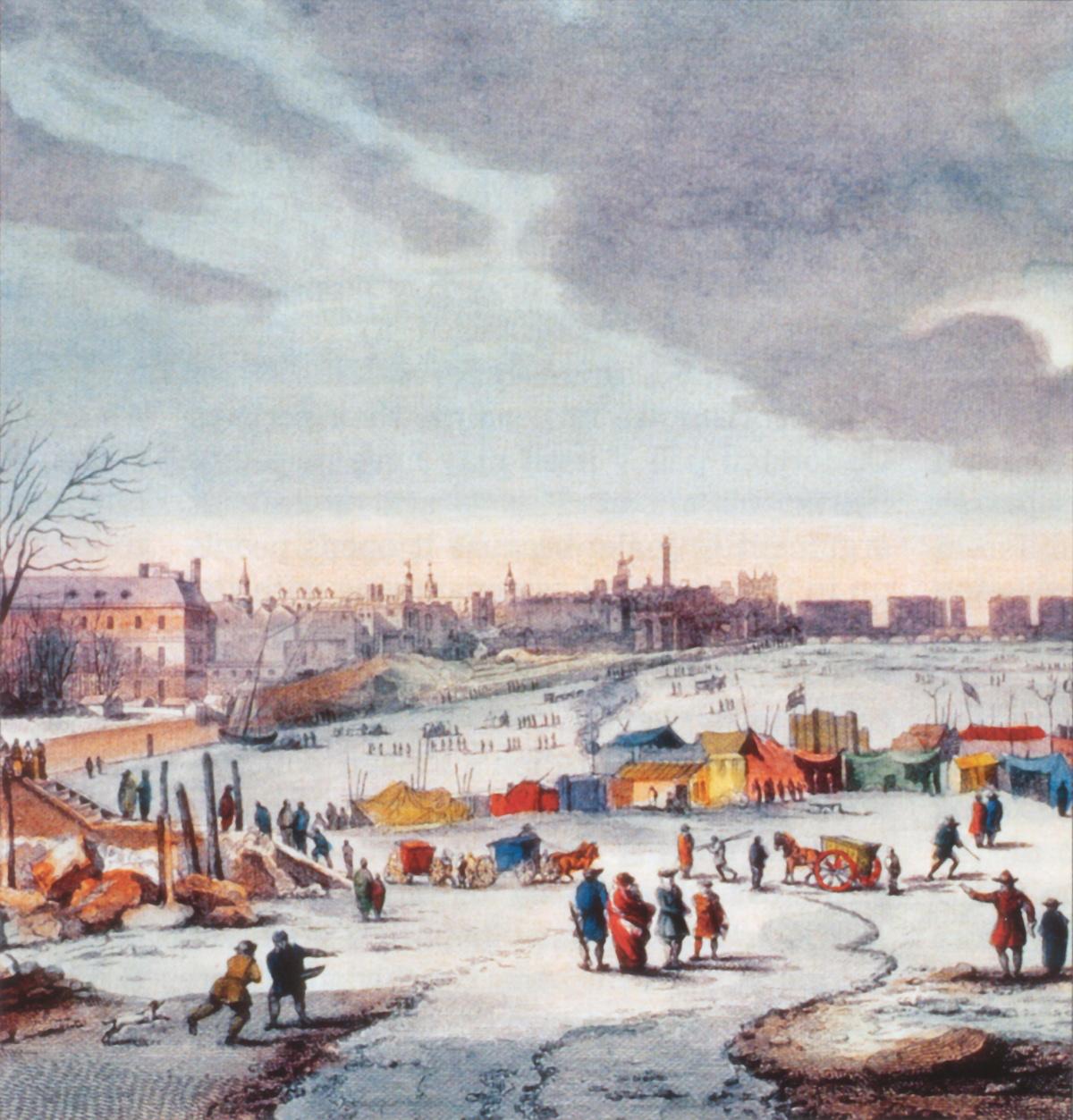 IJspret op de rivier Thames in Londen tijdens de winter van 1683