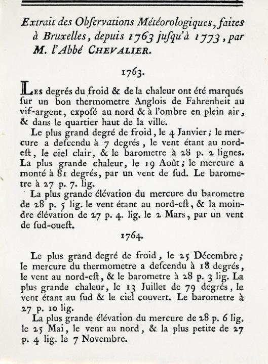 """Les observations météorologiques de l'abbé Chevalier en 1763 à Bruxelles ont été publiées dans les """"Mémoires"""" de l'Académie de Bruxelles."""