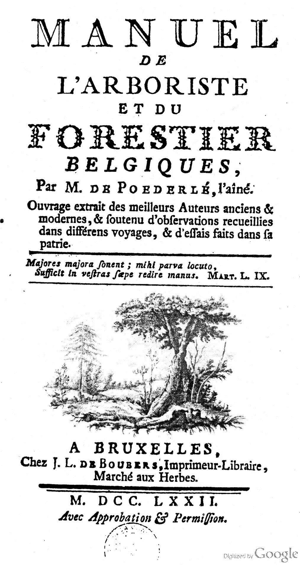 La page titre du travail pionnier de de Poederlée (1742-1813) sur les arbres et arbustes de Belgique