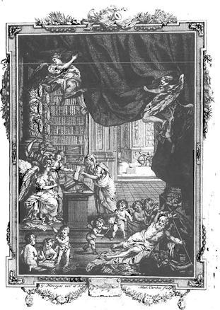 """""""Frontispice of frontispies"""" - dit is een boekillustratie, die zich op de tweede, tegenover de titelpagina liggende bladzijde bevindt, pagina 3 dus -, van de """"Mémoires"""" van de Theresiaanse Academie van Brussel."""