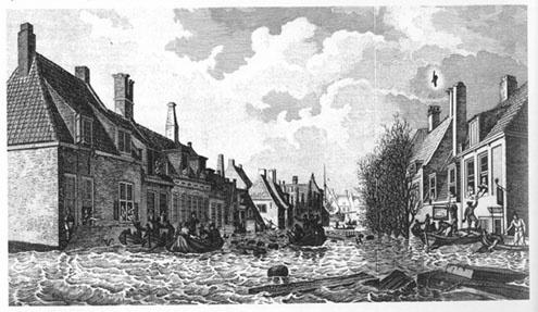 """La """"Palingstraat"""" à Flessingue, à Walcheren en Zélande durant l'inondation du 14 au 15 janvier 1808"""