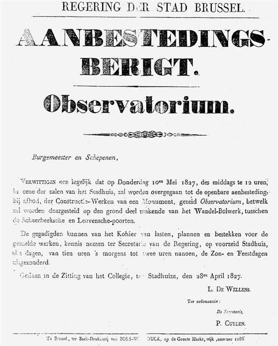 Aanbestedingsbericht voor de bouw van de Koninklijke Sterrenwacht van Brussel (Archief van de Stad Brussel – Astronomisch Bulletin, Volume XI, 1996)