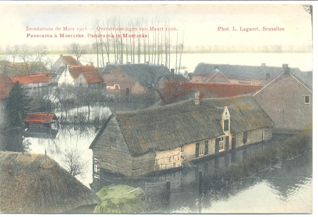 De overstromingen van maart 1906 - panorama te Moerzeke.
