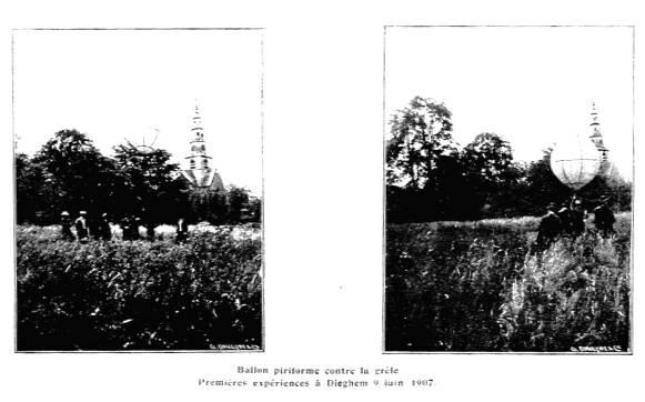 Eerste proeven met peervormige ballonnen in de strijd tegen hagel te Diegem in 1907.