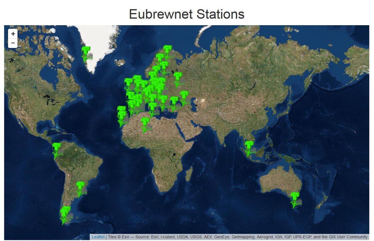 Figuur 2: overzicht van de verschillende stations die hun data doorsturen naar de Eubrewnet databank