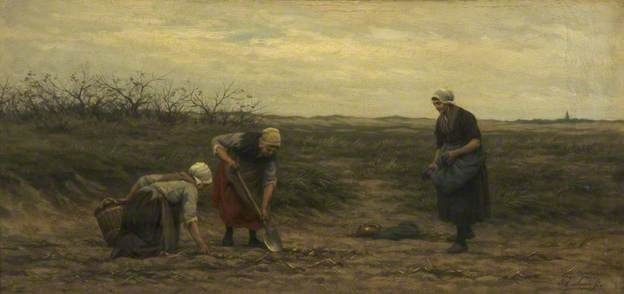 Philip Lodewijk Jacob Frederik Sadée (1837-1904), La récolte de pommes de terre (Potato digging) 1875, Whitworth Art Gallery, University of Manchester, huile sur bois, 28.4 x 59.1 cm.