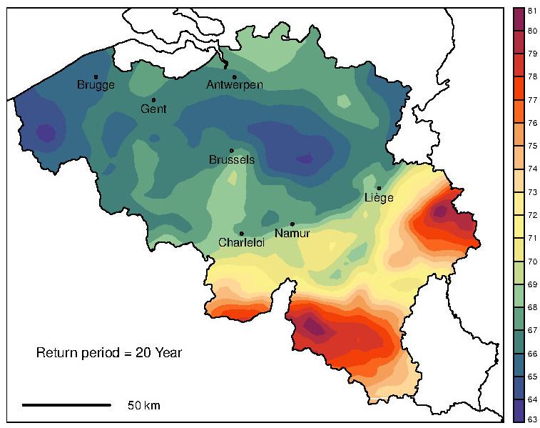 Kaart van de neerslagetotaal over 24u die een terugkeerperiode van 20 jaar voor België toont (mm).