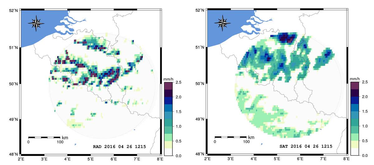 Vergelijking tussen de neerslagdata van de weerradar van het KMI te Wideumont en satelliet schattingen van het H-SAF project (H03 neerslagprodukt) voor 26 april 2016.