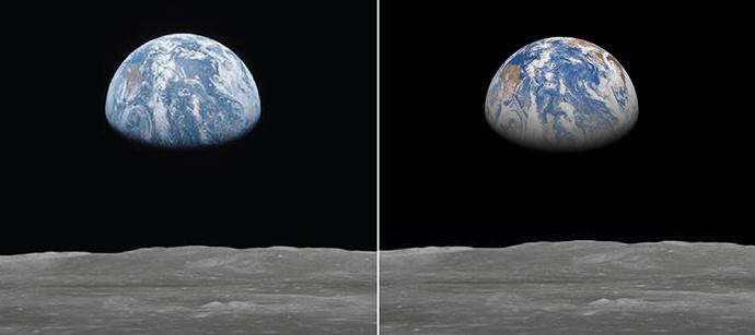Photo prise par l'équipe d'Apollo 11 de la NASA le 20 juillet 1969 vers 05h UTC (à gauche), et le photo-montage correspondant réalisé à partir d'une prévision ECMWF de 29 heures à une résolution de 28 km, sur base des données ERA40 (à droite). Les deux images sont centrées sur l'Ouest de l'Océan Pacifique, l'équateur étant quasi à la verticale, et l'Australie étant visible sur le côté gauche, de couleur brune.