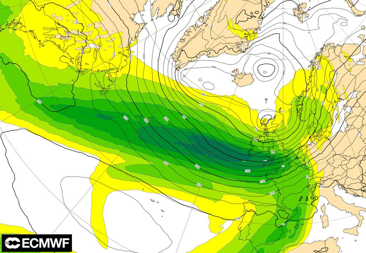 Pression atmosphérique au niveau de la mer du dimanche 9 février à 12h UTC (source : ECMWF).