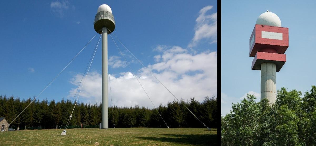 De weerradars van het KMI te Wideumont (links) en Jabbeke (rechts)
