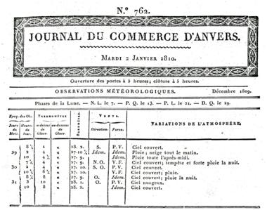 """Weerkundige waarnemingen door L.P.X. te Antwerpen eind december 1809 en gepubliceerd in de """"Journal du Commerce"""" op dinsdag 2 januari 1810."""