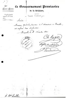 Confirmation d'Adolphe Quetelet comme directeur à l'Observatoire de Bruxelles, par le Gouvernement Provisoire de Belgique, le 8 décembre 1830.