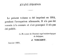 Het voorwoord van het jaarboek van het Koninklijk Meteorologisch Instituut van België voor het jaar 1915 waarin de Directeur Jean Vincent weigerde de tekst aan de Duitse censuur te onderwerpen.