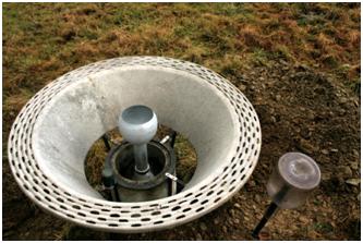 De standaard regenmeter of pluviometer P50 van het Koninklijk Meteorologisch Instituut uitgerust met een Nipher windscherm.