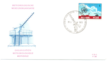 Briefomslag met speciale zegel van de ATP-antenne ter gelegenheid van de honderdste verjaardag van de Wereld Meteorologische Organisatie (WMO).