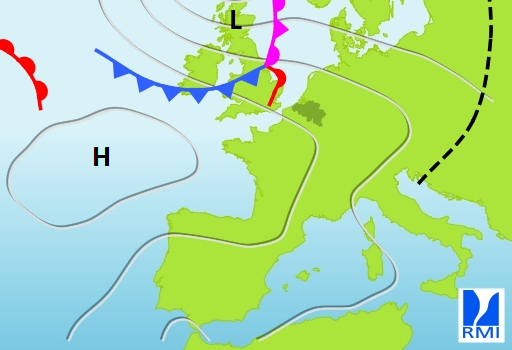 Figuur 3. Tussen een hogedrukgebied boven de Atlantische Oceaan en een depressie boven Schotland, bereikt in een noordwestelijke stroming eerst een warmfront en later een koufront onze streken.