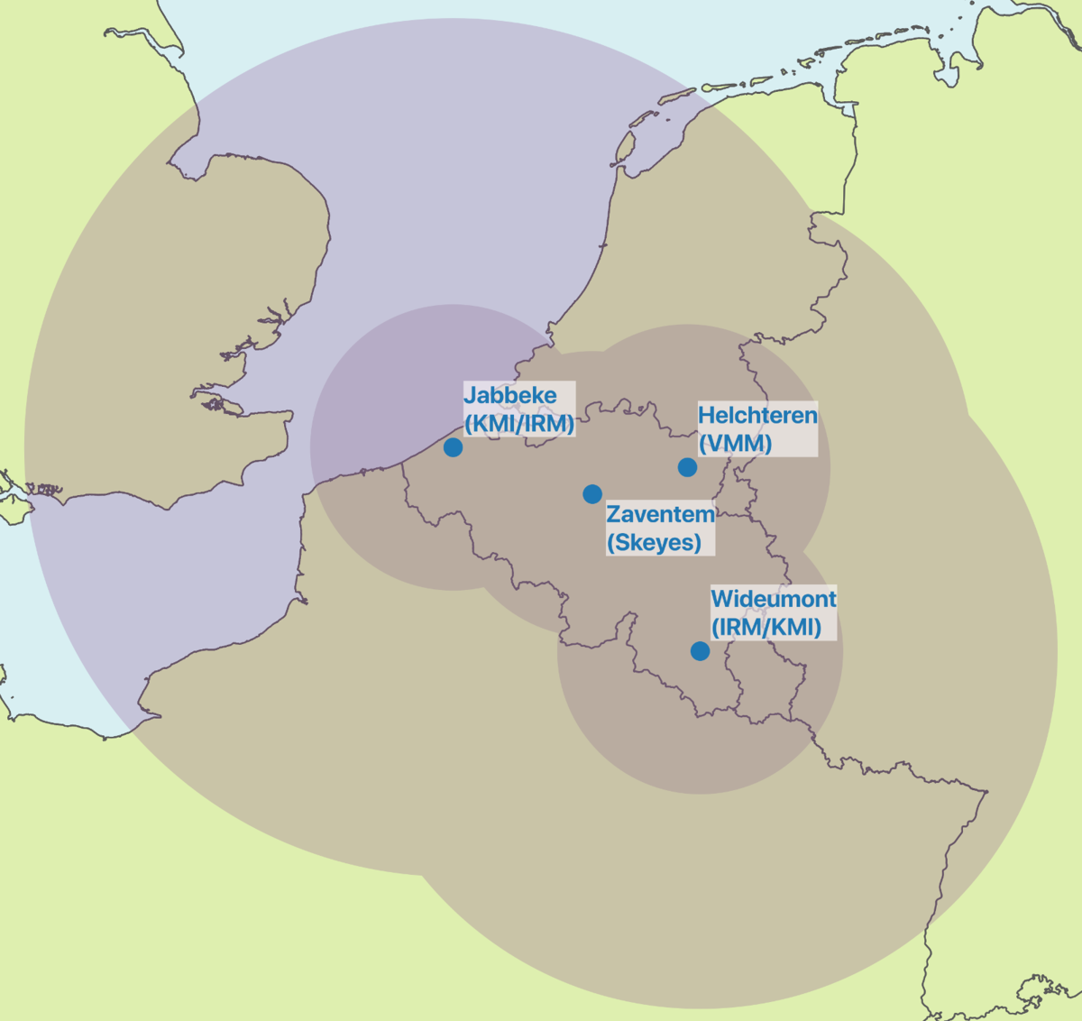 The Belgian network of the meteorological radars. Around every radar is a circle of around 100 km, this is the range within a radar can carry out quantitative precipitation estimates. The larger area represents the full range.