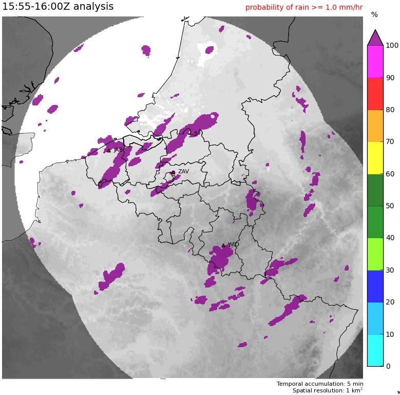 Carte montrant la probabilité de précipitations modérées (>1mm/heure), sur base des observations de l'heure précédente.