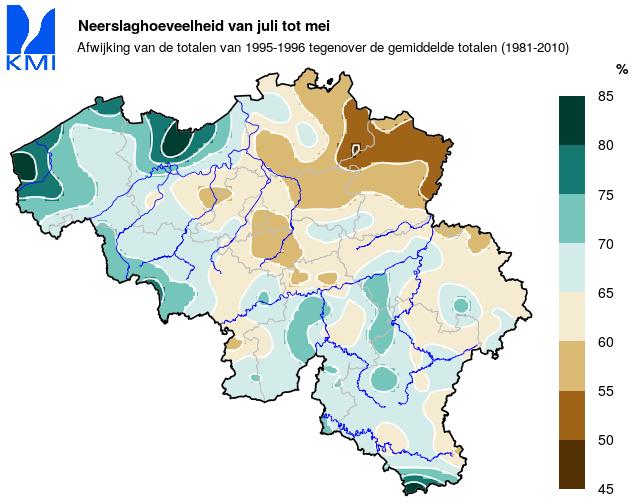 Figuur 9: De neerslagtotalen vanaf juli 1995 tot en met mei 1996 in procent van de normale totalen.