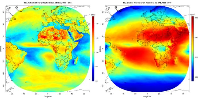 Figures 1 et 2: Moyenne des flux solaires réfléchis (à gauche) et thermiques émis (à droite) au sommet de l'atmosphère sur la période 1983-2015.