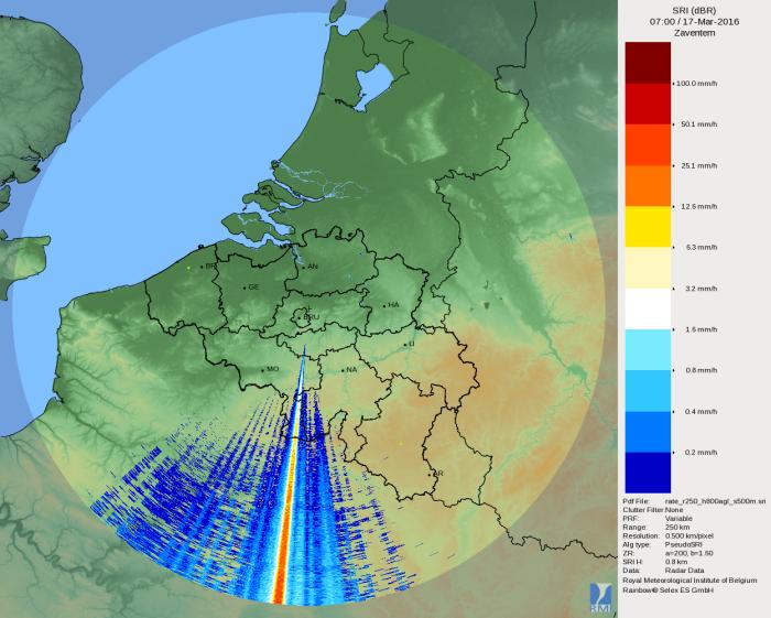 Très forte perturbation d'un émetteur dans les images du radar de Zaventem.