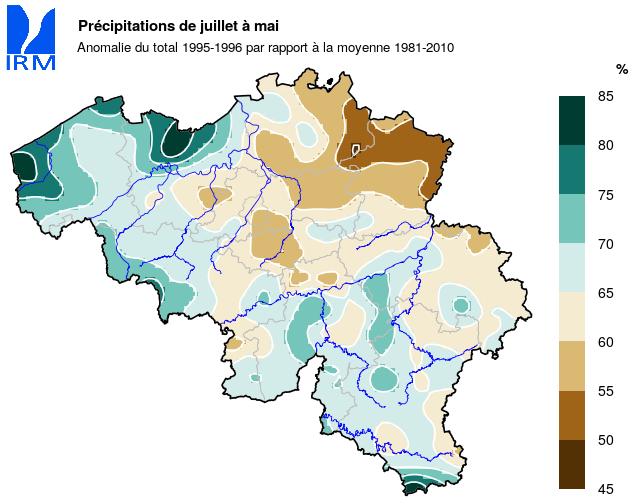 Figure 9 : Les précipitations cumulées entre juillet 1995 et mai 1996, exprimées en % des cumuls normaux.