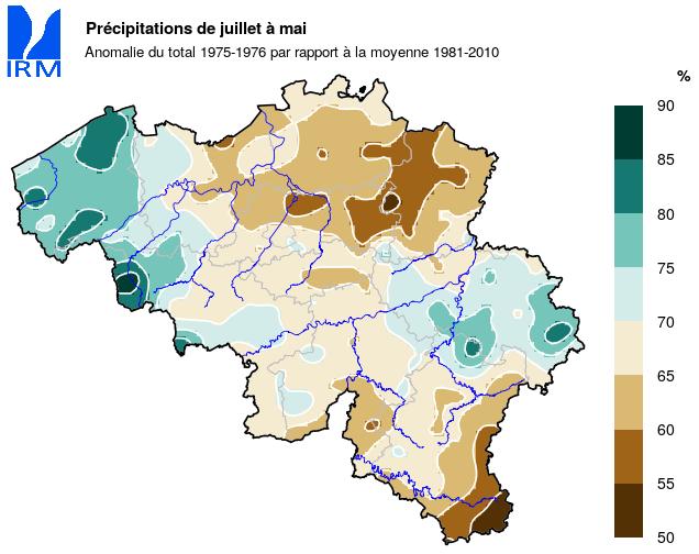 Figure 11 : Les précipitations cumulées entre juillet 1975 et mai 1976, exprimées en % des cumuls normaux.
