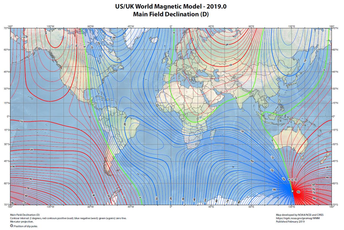 Valeurs de la déclinaison (variation) magnétique dans le monde début 2019 selon le WMM. Ce modèle est élaboré à partir des données géomagnétiques collectées par les satellites (actuellement la mission ESA Swarm) et les observatoires magnétiques (couvrant très imparfaitement la Terre).