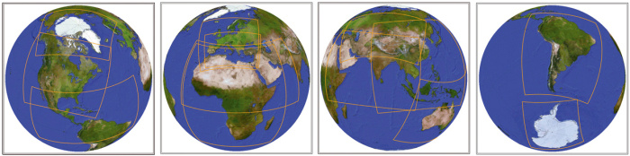 Les régions climatiques, comme définies dans le projet CORDEX (en jaune)