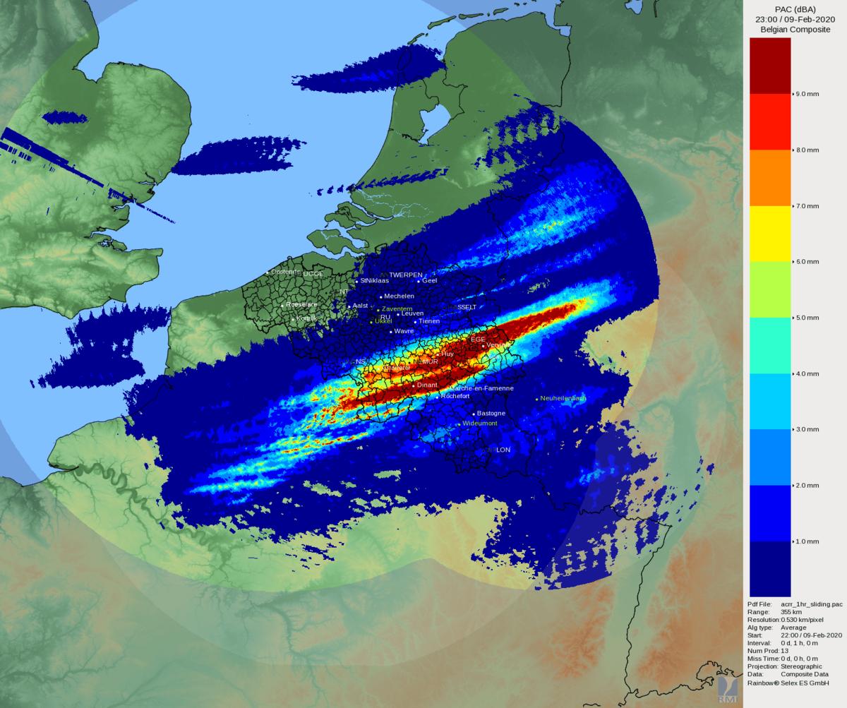 Image radar du dimanche 9 février à 23h UTC.