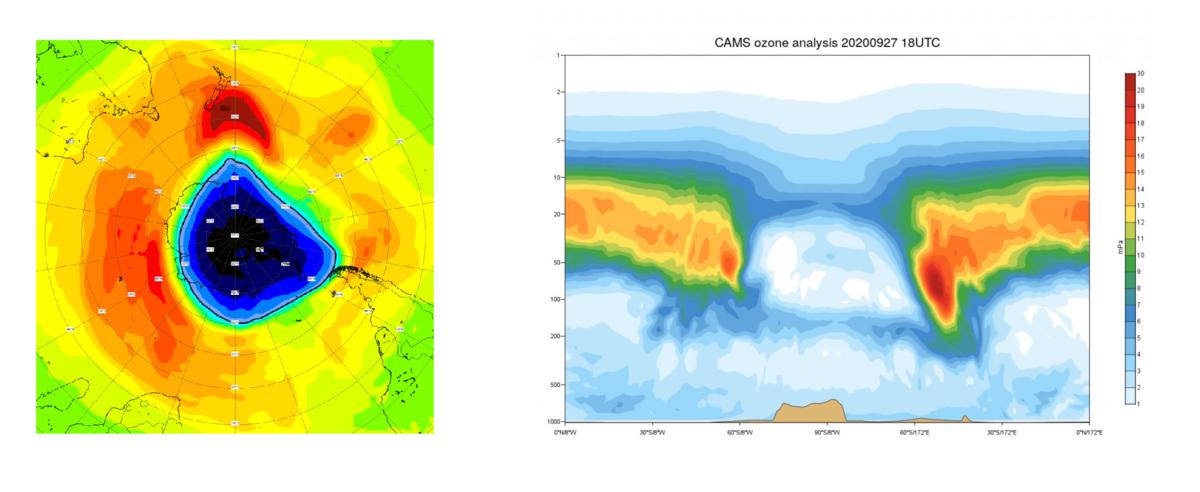 Links: Simulatie met behulp van het Copernicus Atmospheric Monitoring System (CAMS) model van de ozonlaag in eenheden Dobson (DU).  Rechts: doorsnede ter hoogte van de Zuidpool: waar normaal de hoogste concentraties zijn, vinden we nu de laagste concentraties (bron: TEMIS Ozone and UV forecast).