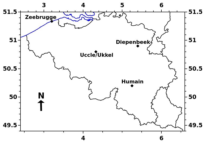 Carte de la Belgique où sont localisés les ceilomètres-LIDAR de l'IRM.